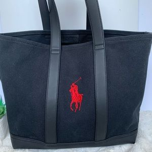 Ralph Lauren black canvas red embroider pony tote